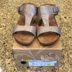 Sofft Valencia Silver Wedge Sandals